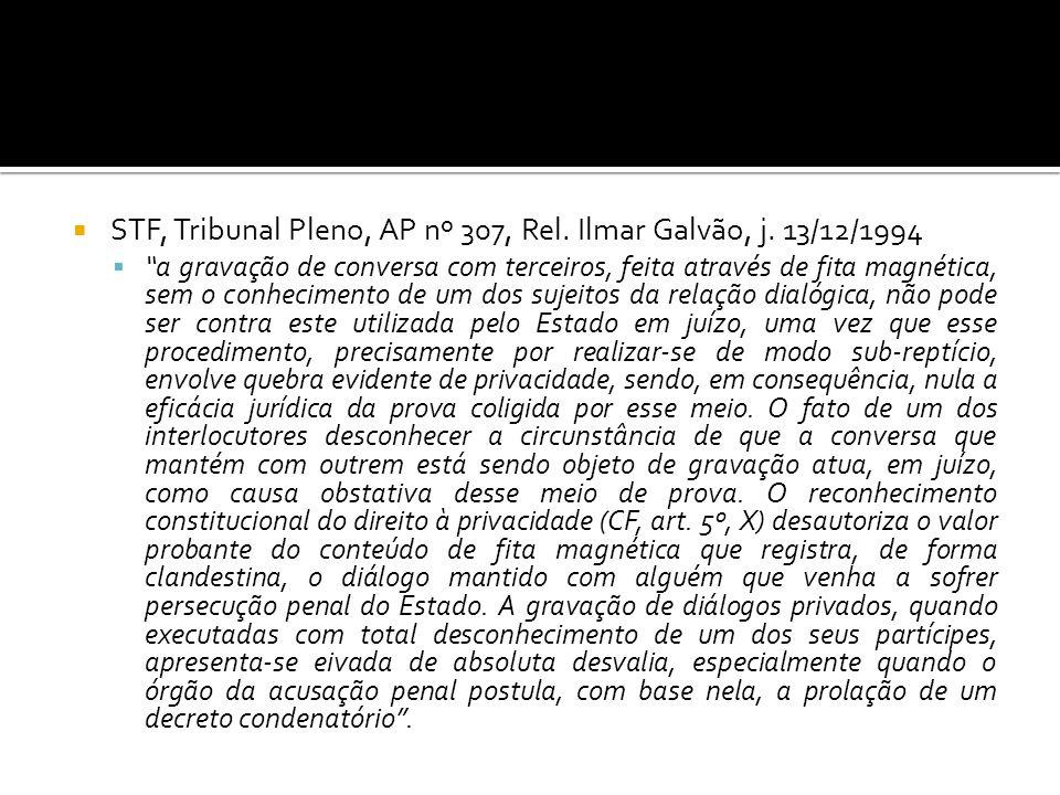 STF, Tribunal Pleno, AP nº 307, Rel. Ilmar Galvão, j. 13/12/1994 a gravação de conversa com terceiros, feita através de fita magnética, sem o conhecim