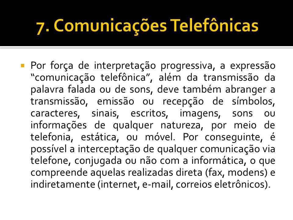 Por força de interpretação progressiva, a expressão comunicação telefônica, além da transmissão da palavra falada ou de sons, deve também abranger a t