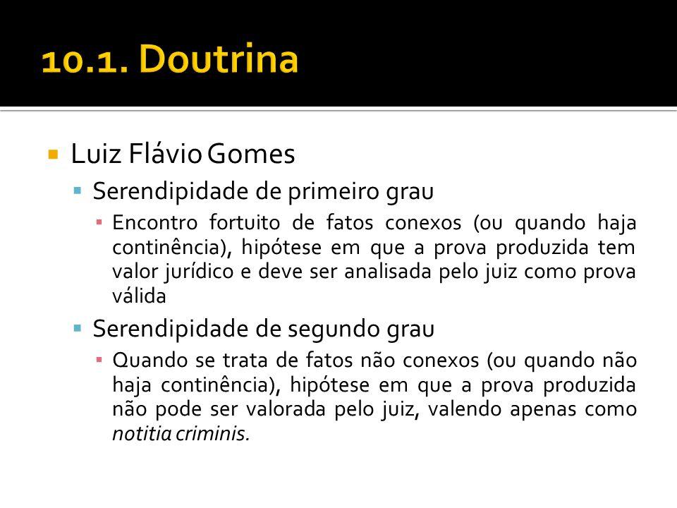 Luiz Flávio Gomes Serendipidade de primeiro grau Encontro fortuito de fatos conexos (ou quando haja continência), hipótese em que a prova produzida te