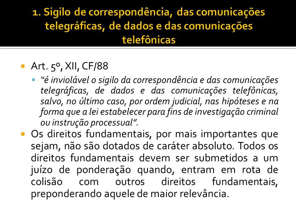 Art. 5º, XII, CF/88 é inviolável o sigilo da correspondência e das comunicações telegráficas, de dados e das comunicações telefônicas, salvo, no últim