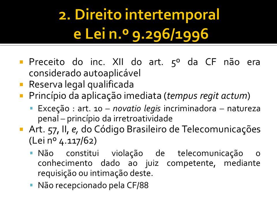 Preceito do inc. XII do art. 5º da CF não era considerado autoaplicável Reserva legal qualificada Princípio da aplicação imediata (tempus regit actum)