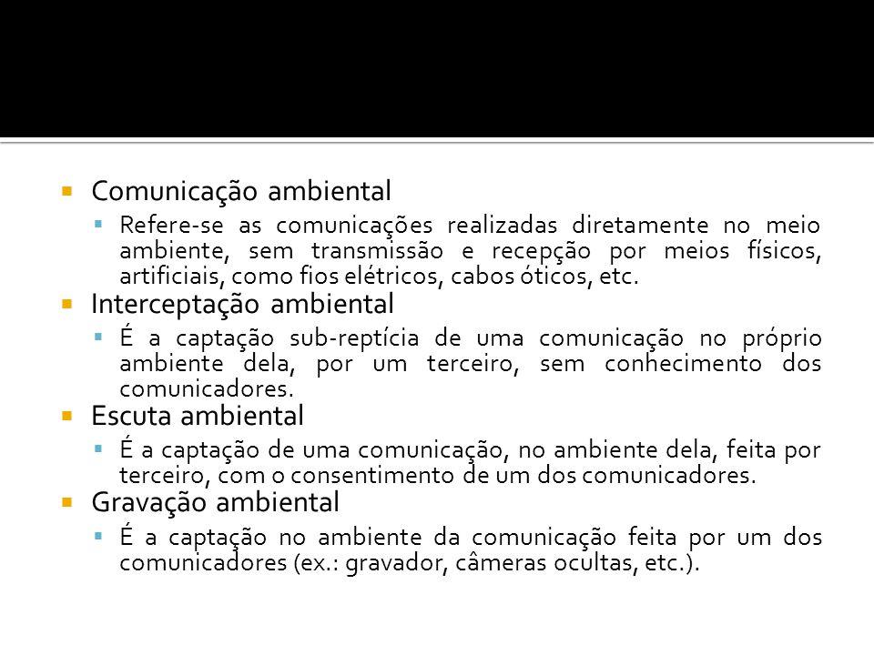 Comunicação ambiental Refere-se as comunicações realizadas diretamente no meio ambiente, sem transmissão e recepção por meios físicos, artificiais, como fios elétricos, cabos óticos, etc.