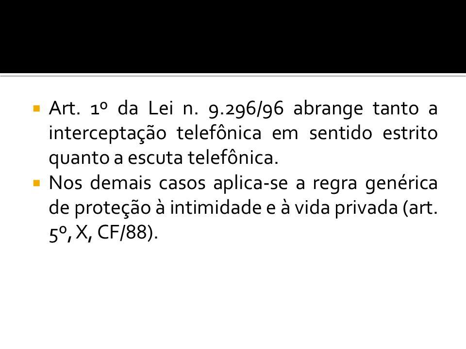 Art. 1º da Lei n. 9.296/96 abrange tanto a interceptação telefônica em sentido estrito quanto a escuta telefônica. Nos demais casos aplica-se a regra
