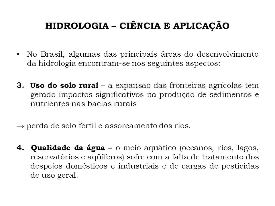 HIDROLOGIA – CIÊNCIA E APLICAÇÃO No Brasil, algumas das principais áreas do desenvolvimento da hidrologia encontram-se nos seguintes aspectos: 3. Uso