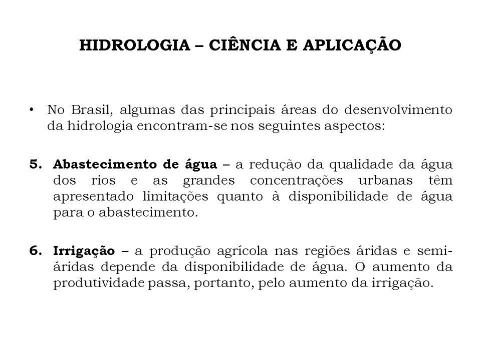 HIDROLOGIA – CIÊNCIA E APLICAÇÃO No Brasil, algumas das principais áreas do desenvolvimento da hidrologia encontram-se nos seguintes aspectos: 5. Abas