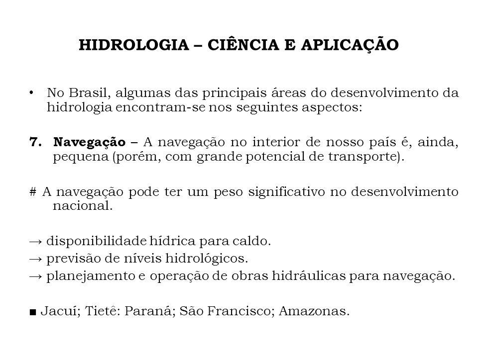HIDROLOGIA – CIÊNCIA E APLICAÇÃO No Brasil, algumas das principais áreas do desenvolvimento da hidrologia encontram-se nos seguintes aspectos: 7. Nave