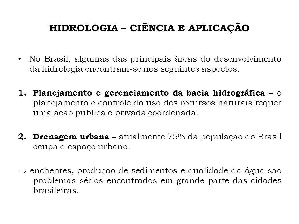 HIDROLOGIA – CIÊNCIA E APLICAÇÃO No Brasil, algumas das principais áreas do desenvolvimento da hidrologia encontram-se nos seguintes aspectos: 1. Plan