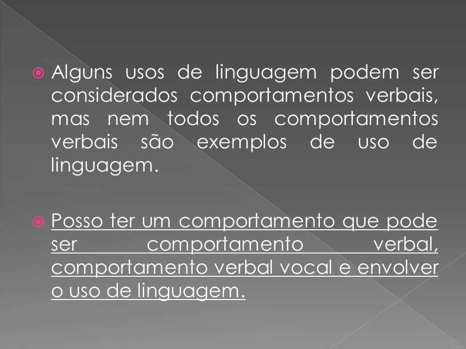 Alguns usos de linguagem podem ser considerados comportamentos verbais, mas nem todos os comportamentos verbais são exemplos de uso de linguagem. Poss
