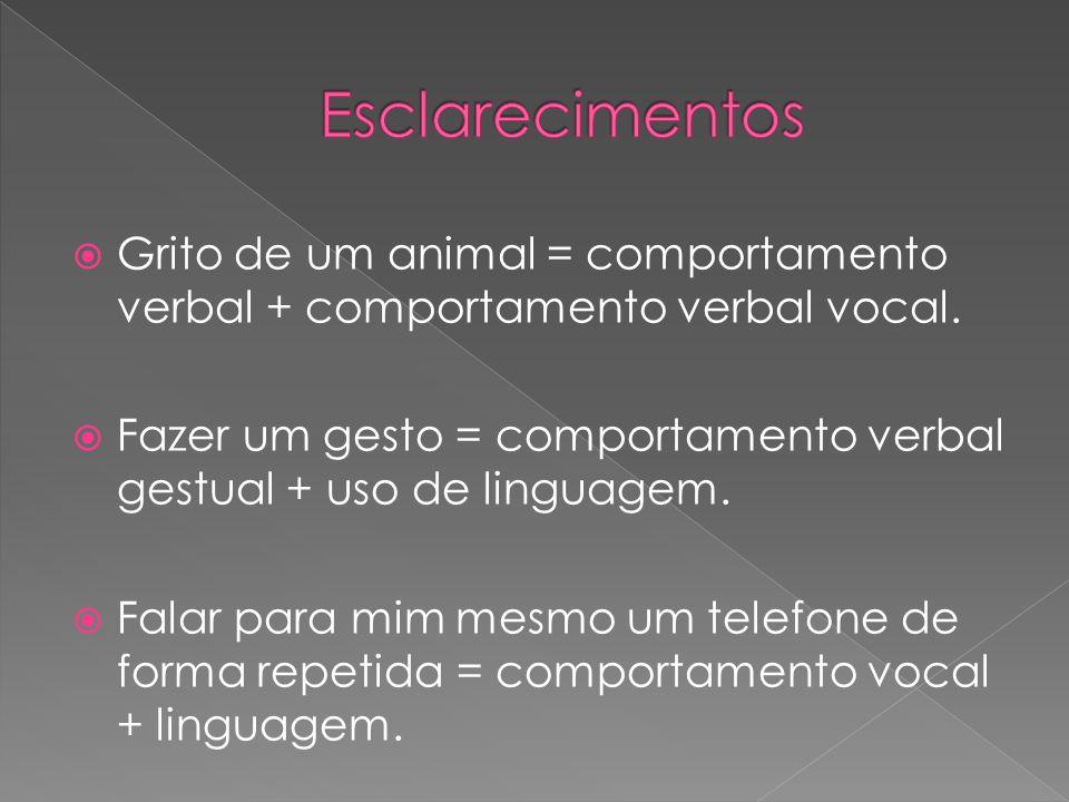 Grito de um animal = comportamento verbal + comportamento verbal vocal. Fazer um gesto = comportamento verbal gestual + uso de linguagem. Falar para m
