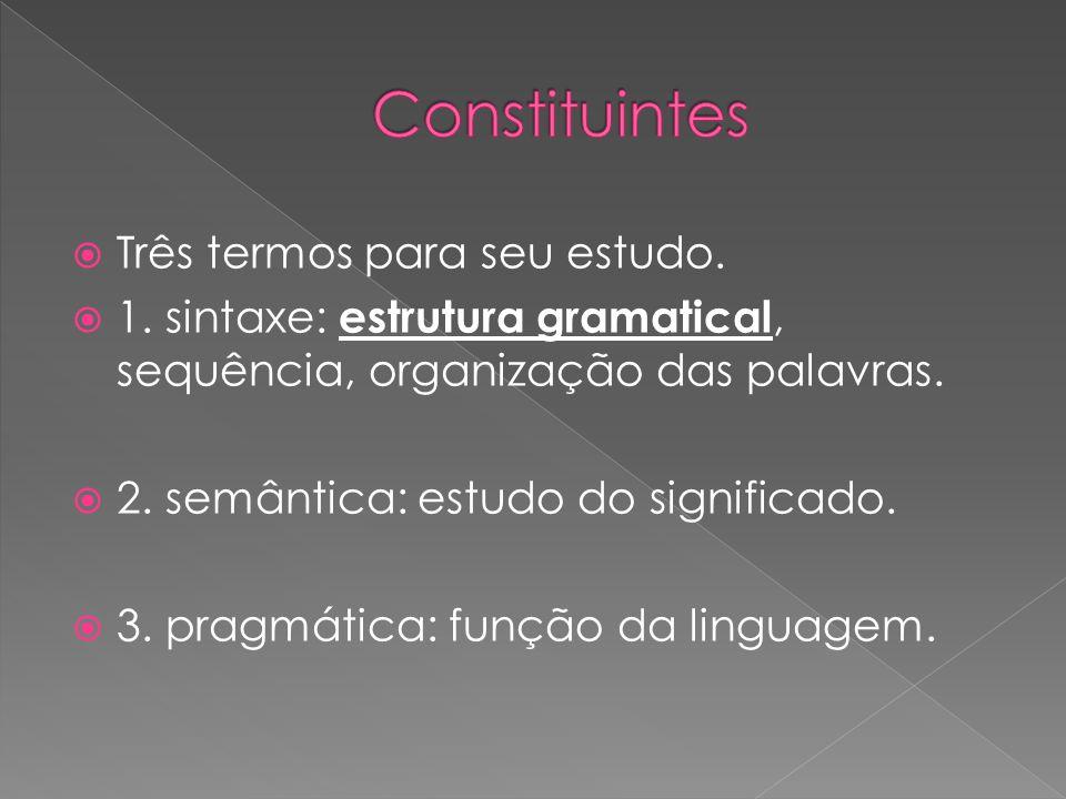 Três termos para seu estudo. 1. sintaxe: estrutura gramatical, sequência, organização das palavras. 2. semântica: estudo do significado. 3. pragmática