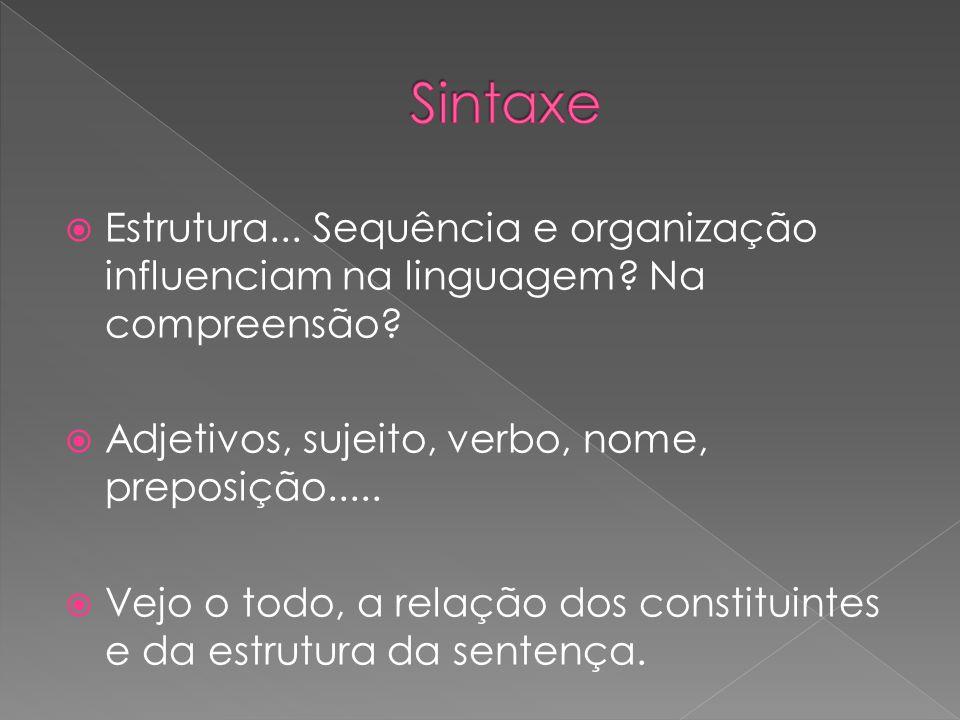 Estrutura... Sequência e organização influenciam na linguagem? Na compreensão? Adjetivos, sujeito, verbo, nome, preposição..... Vejo o todo, a relação