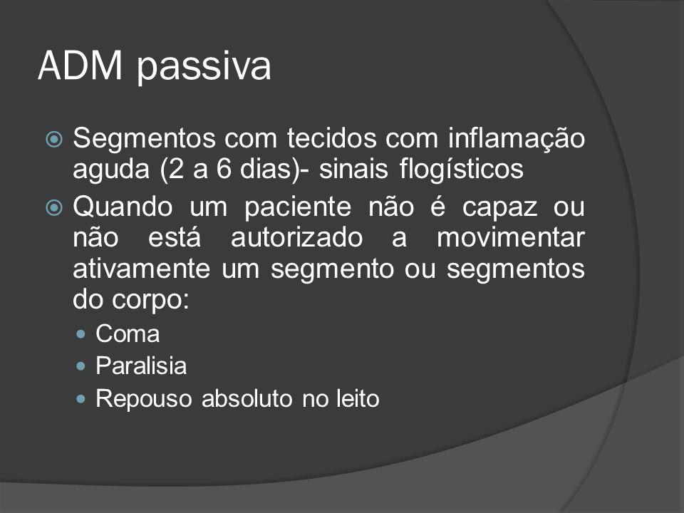 ADM passiva Segmentos com tecidos com inflamação aguda (2 a 6 dias)- sinais flogísticos Quando um paciente não é capaz ou não está autorizado a movime