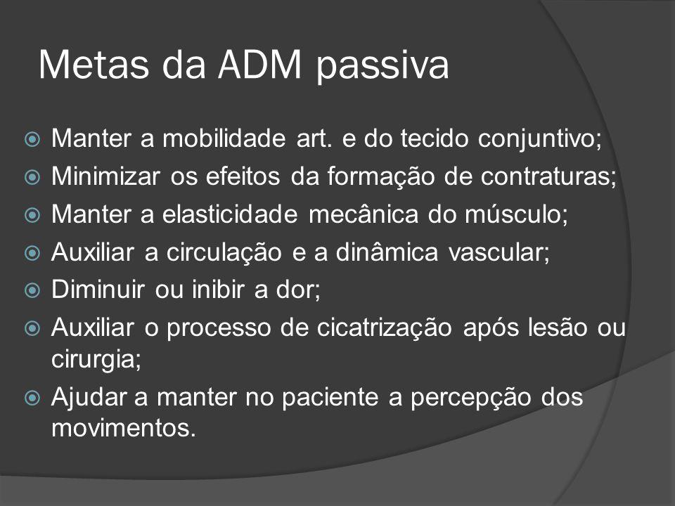 Metas da ADM passiva Manter a mobilidade art. e do tecido conjuntivo; Minimizar os efeitos da formação de contraturas; Manter a elasticidade mecânica