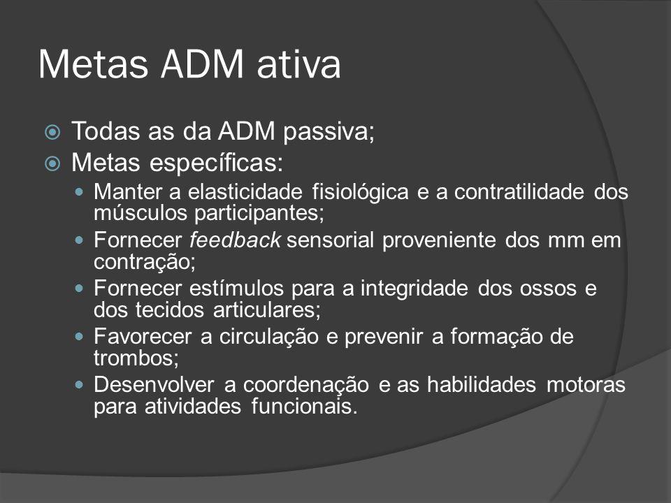 Metas ADM ativa Todas as da ADM passiva; Metas específicas: Manter a elasticidade fisiológica e a contratilidade dos músculos participantes; Fornecer