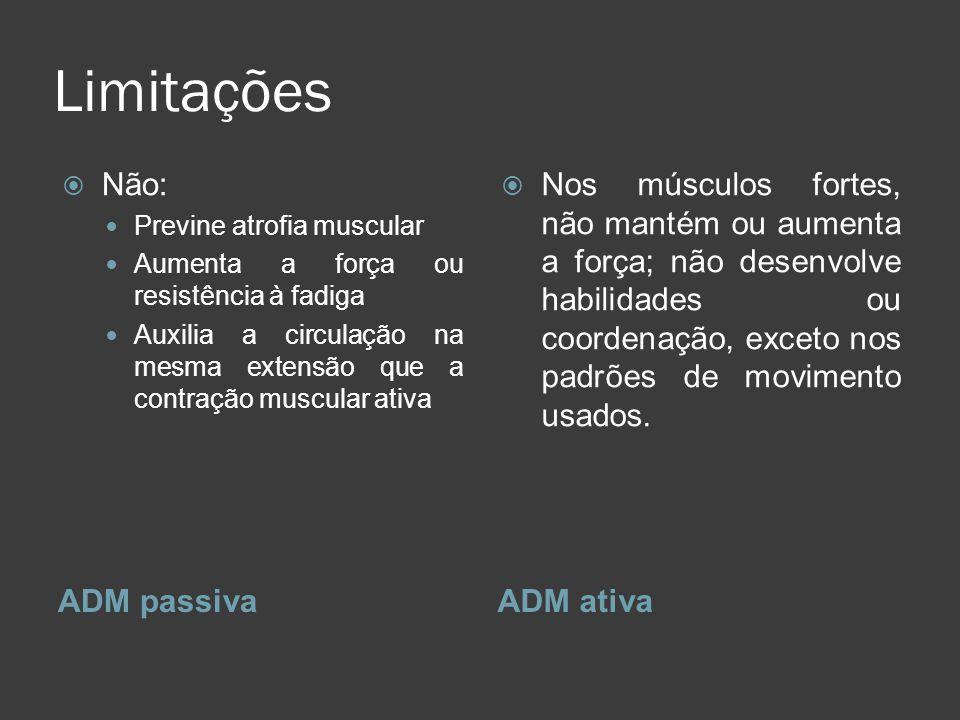 Limitações ADM passivaADM ativa Não: Previne atrofia muscular Aumenta a força ou resistência à fadiga Auxilia a circulação na mesma extensão que a con