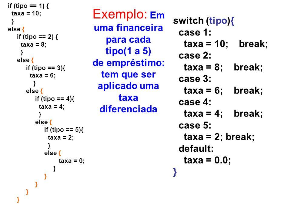 if (tipo == 1) { taxa = 10; } else { if (tipo == 2) { taxa = 8; } else { if (tipo == 3){ taxa = 6; } else { if (tipo == 4){ taxa = 4; } else { if (tip