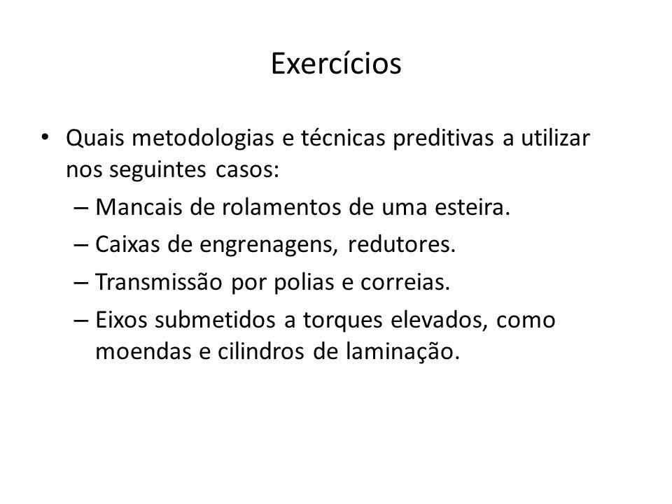 Exercícios Quais metodologias e técnicas preditivas a utilizar nos seguintes casos: – Mancais de rolamentos de uma esteira. – Caixas de engrenagens, r
