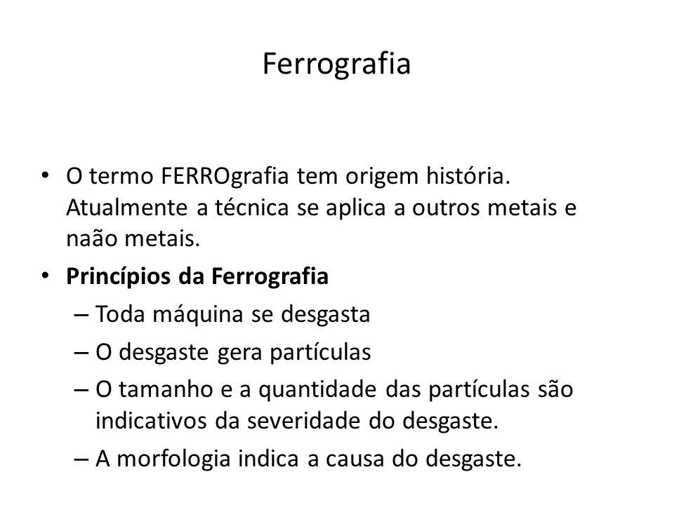 Ferrografia O termo FERROgrafia tem origem história. Atualmente a técnica se aplica a outros metais e naão metais. Princípios da Ferrografia – Toda má