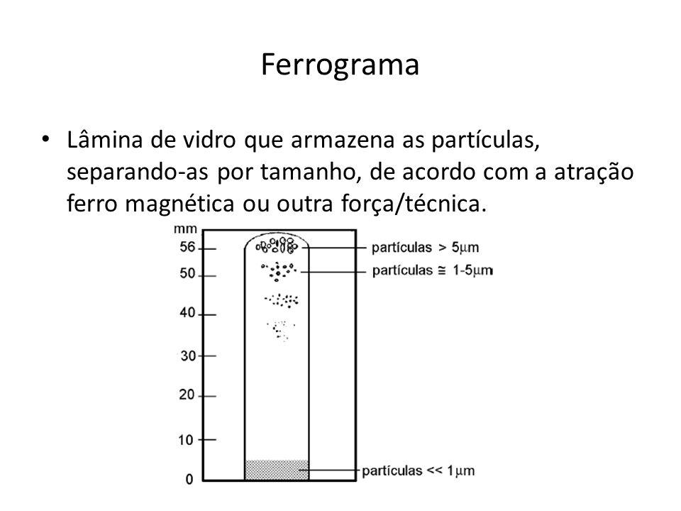 Ferrograma Lâmina de vidro que armazena as partículas, separando-as por tamanho, de acordo com a atração ferro magnética ou outra força/técnica.