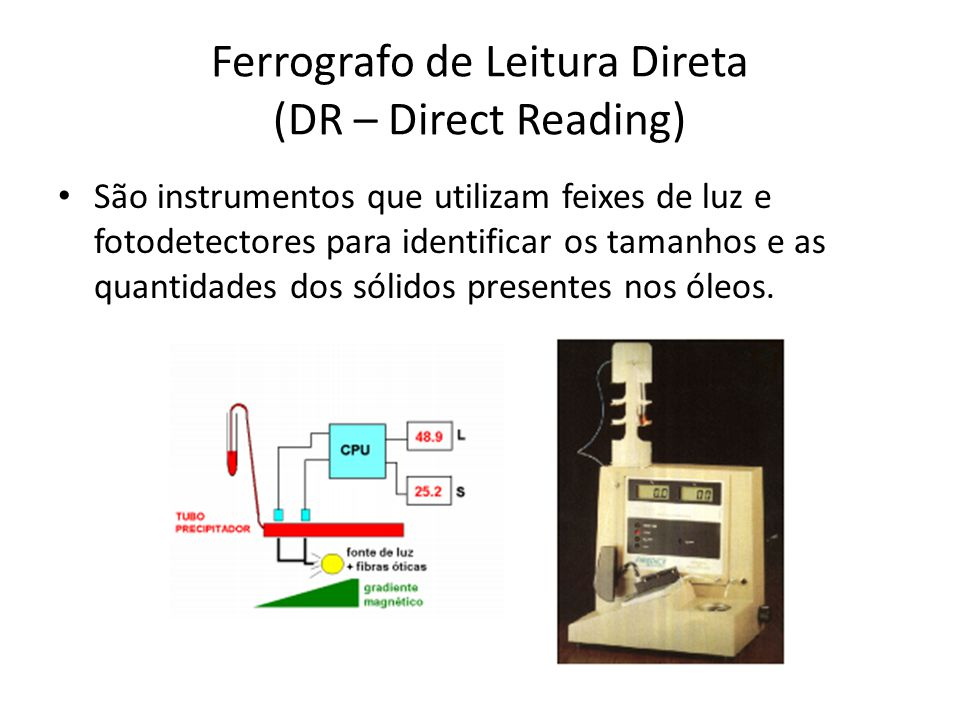 Ferrografo de Leitura Direta (DR – Direct Reading) São instrumentos que utilizam feixes de luz e fotodetectores para identificar os tamanhos e as quan