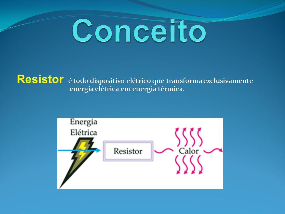 Resistor é todo dispositivo elétrico que transforma exclusivamente energia elétrica em energia térmica.