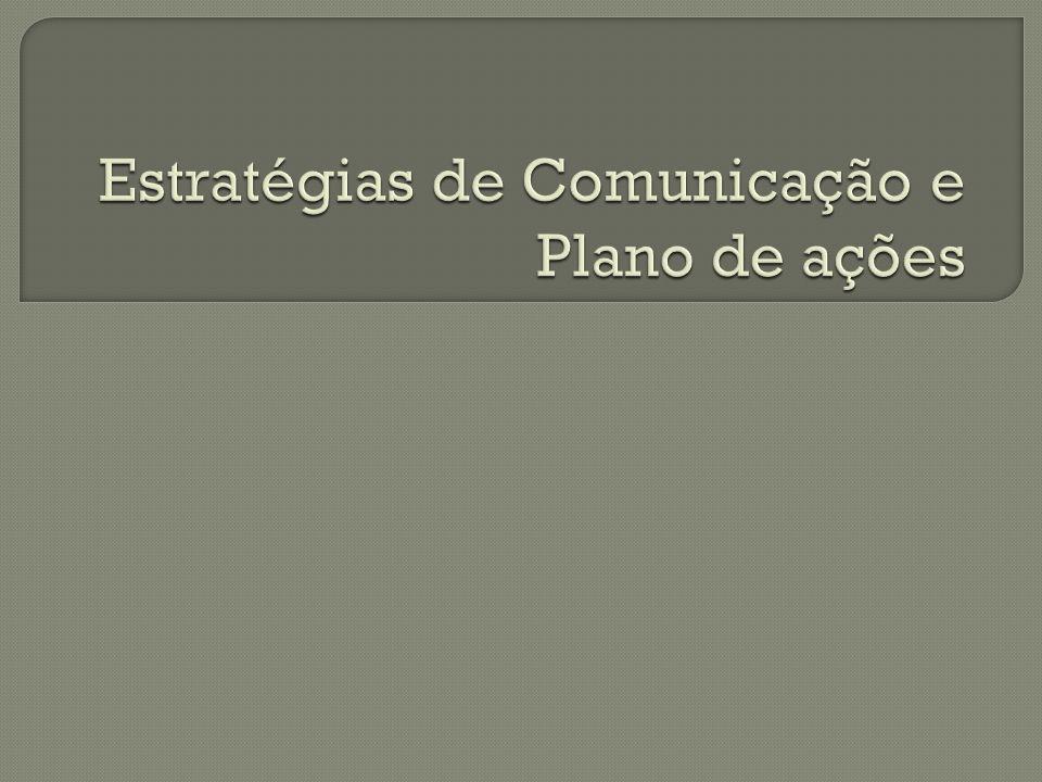 Cenário mercadológico + diagnóstico Objetivo Público alvo Posicionamento Plano de ações Estratégia de comunicação Ações de comunicação