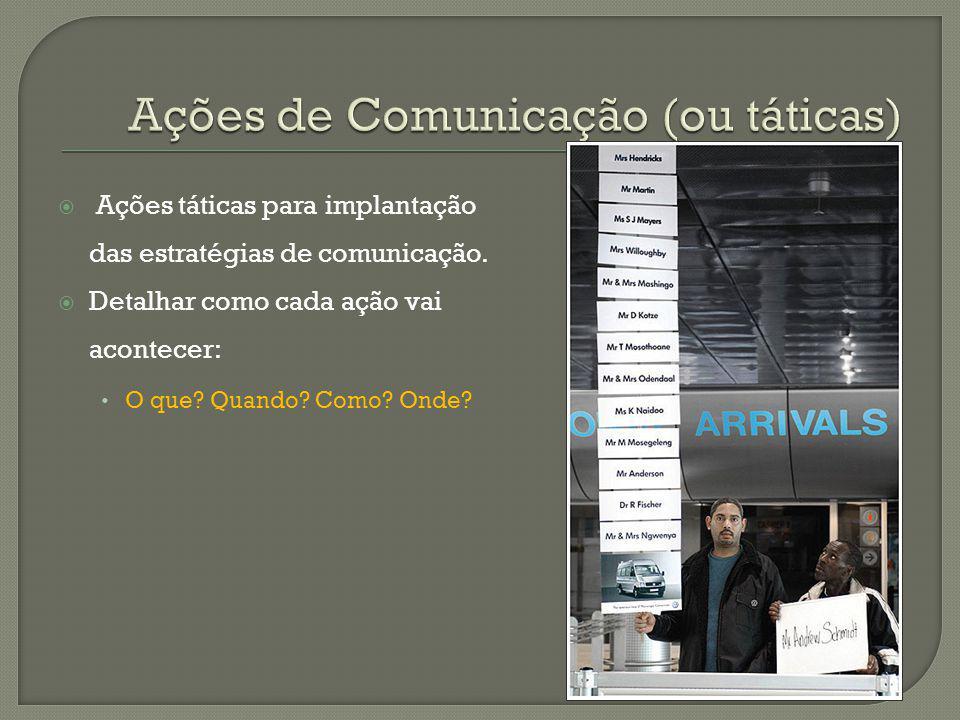 Ações táticas para implantação das estratégias de comunicação. Detalhar como cada ação vai acontecer: O que? Quando? Como? Onde?