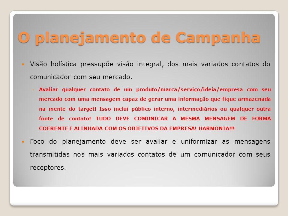 O planejamento de Campanha nas agências – account planner Profissional responsável por gerir a recolha e análise de informação necessária ao desenvolvimento da campanha.