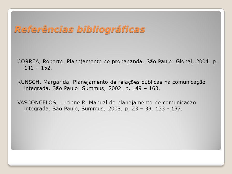 Referências bibliográficas CORREA, Roberto. Planejamento de propaganda. São Paulo: Global, 2004. p. 141 – 152. KUNSCH, Margarida. Planejamento de rela