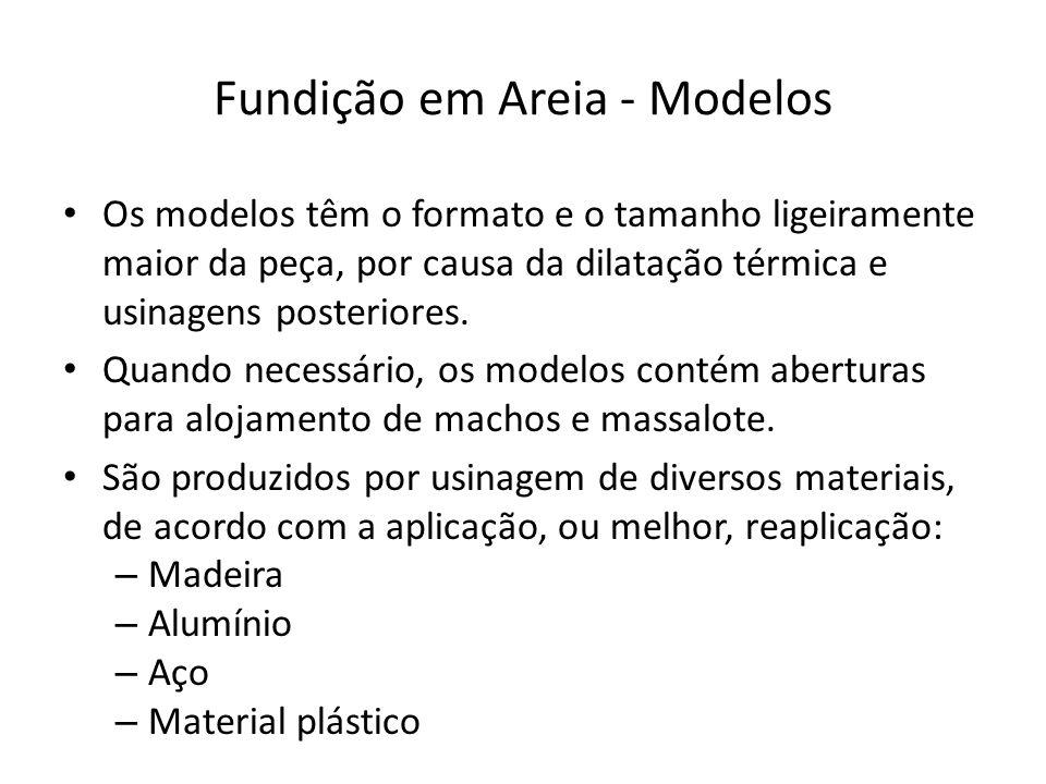 Fundição em Areia - Modelos Os modelos têm o formato e o tamanho ligeiramente maior da peça, por causa da dilatação térmica e usinagens posteriores. Q