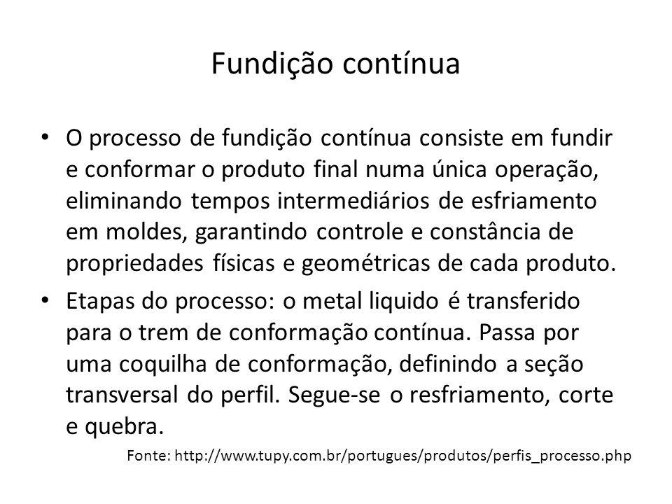 Fundição contínua O processo de fundição contínua consiste em fundir e conformar o produto final numa única operação, eliminando tempos intermediários