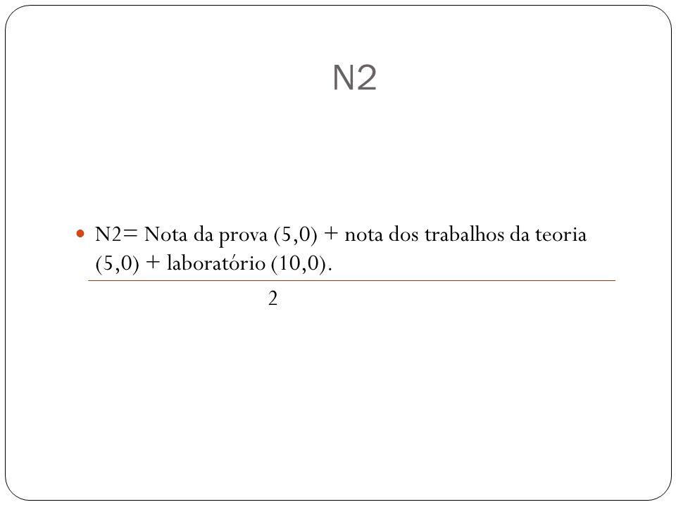N2 N2= Nota da prova (5,0) + nota dos trabalhos da teoria (5,0) + laboratório (10,0). 2