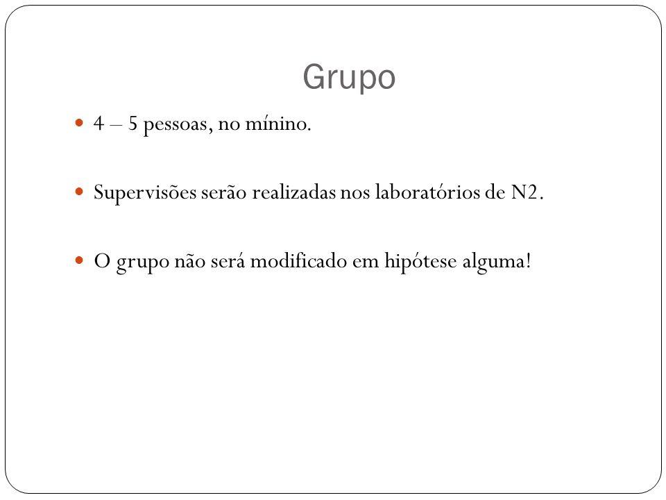 Grupo 4 – 5 pessoas, no mínino. Supervisões serão realizadas nos laboratórios de N2. O grupo não será modificado em hipótese alguma!