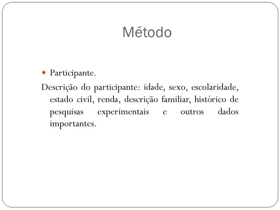 Método Participante. Descrição do participante: idade, sexo, escolaridade, estado civil, renda, descrição familiar, histórico de pesquisas experimenta