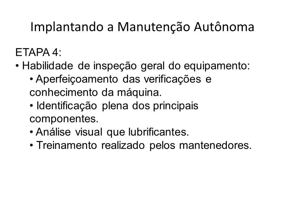 Implantando a Manutenção Autônoma ETAPA 4: Habilidade de inspeção geral do equipamento: Aperfeiçoamento das verificações e conhecimento da máquina.
