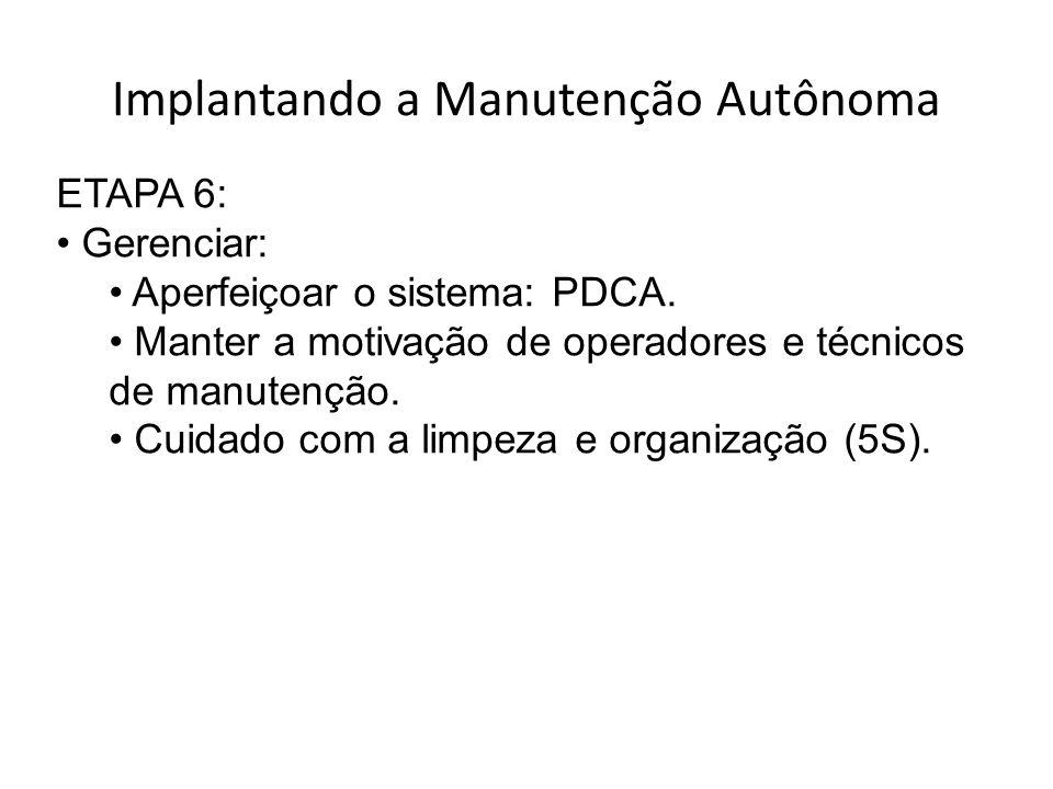 Implantando a Manutenção Autônoma ETAPA 6: Gerenciar: Aperfeiçoar o sistema: PDCA.