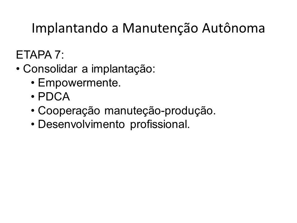 Implantando a Manutenção Autônoma ETAPA 7: Consolidar a implantação: Empowermente.