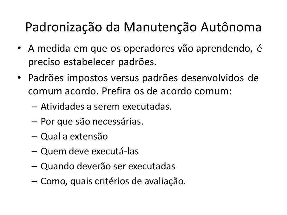 Padronização da Manutenção Autônoma A medida em que os operadores vão aprendendo, é preciso estabelecer padrões.