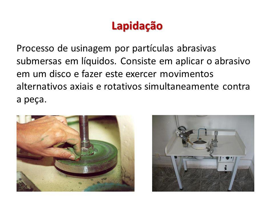 Lapidação Processo de usinagem por partículas abrasivas submersas em líquidos.