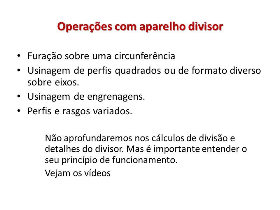 Operações com aparelho divisor Furação sobre uma circunferência Usinagem de perfis quadrados ou de formato diverso sobre eixos.