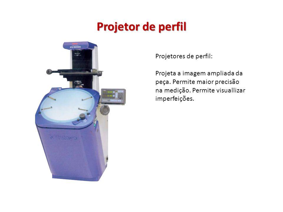 Projetor de perfil Projetores de perfil: Projeta a imagem ampliada da peça. Permite maior precisão na medição. Permite visuallizar imperfeições.
