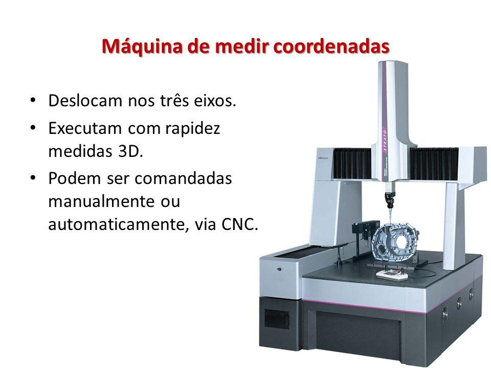 Máquina de medir coordenadas Deslocam nos três eixos. Executam com rapidez medidas 3D. Podem ser comandadas manualmente ou automaticamente, via CNC.