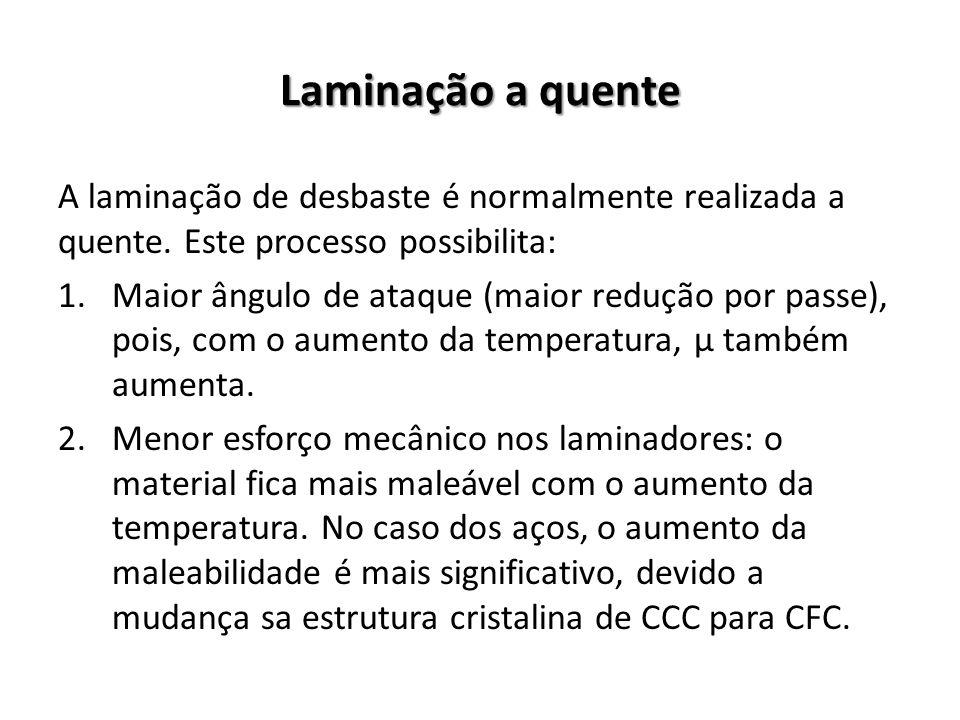 Laminação a quente A laminação de desbaste é normalmente realizada a quente. Este processo possibilita: 1.Maior ângulo de ataque (maior redução por pa