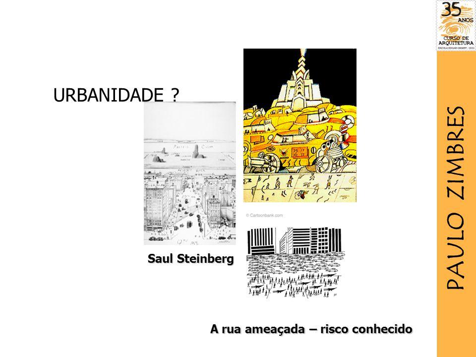 A rua ameaçada – risco conhecido Saul Steinberg URBANIDADE ? PAULO ZIMBRES