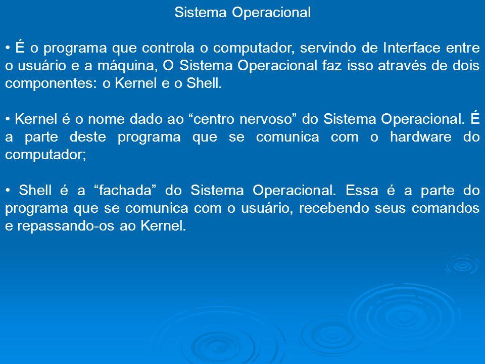 Sistema Operacional É o programa que controla o computador, servindo de Interface entre o usuário e a máquina, O Sistema Operacional faz isso através