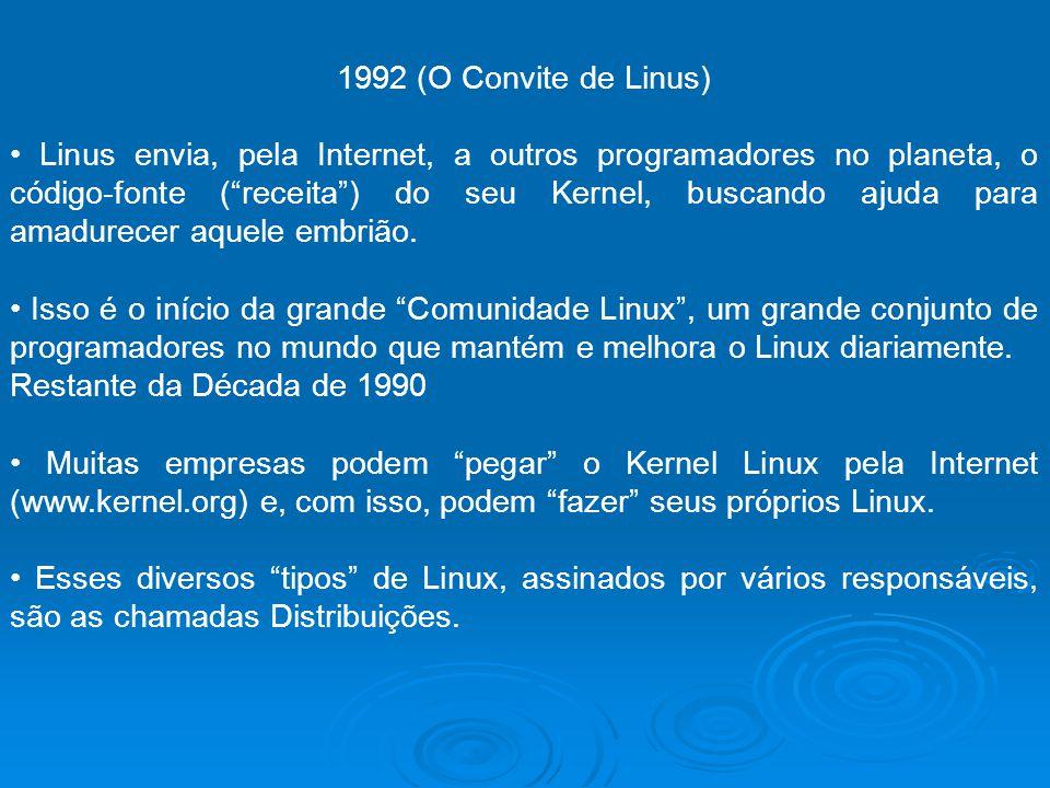 1992 (O Convite de Linus) Linus envia, pela Internet, a outros programadores no planeta, o código-fonte (receita) do seu Kernel, buscando ajuda para a