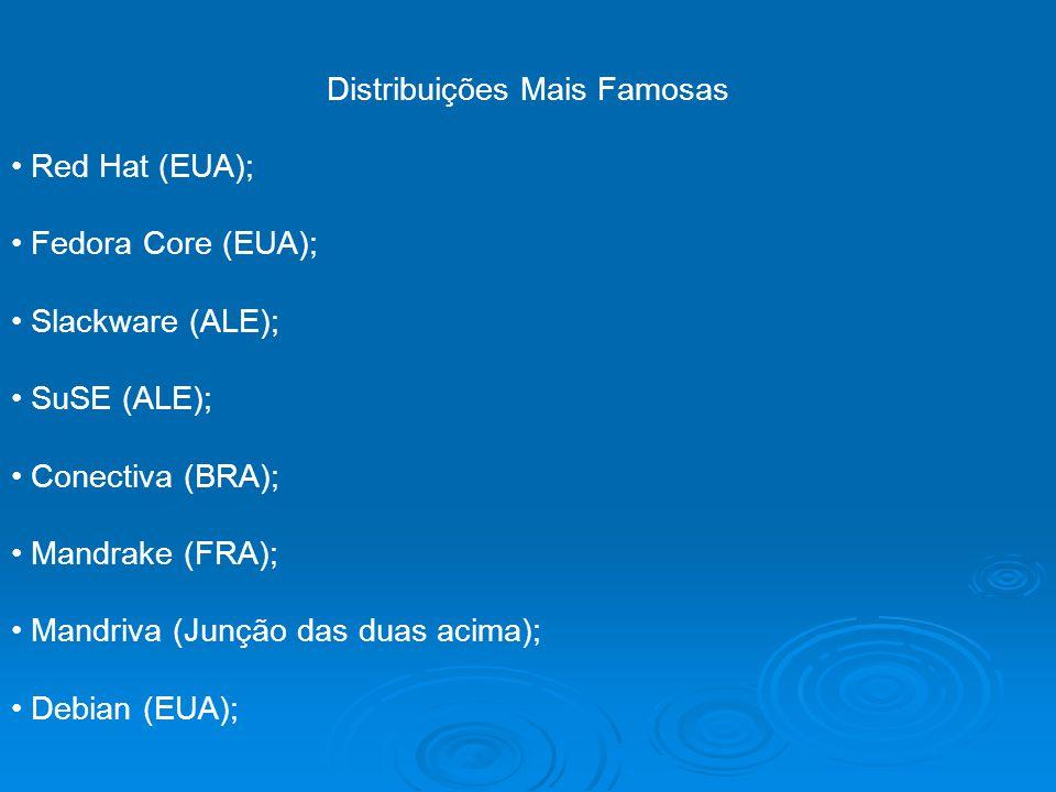 Distribuições Mais Famosas Red Hat (EUA); Fedora Core (EUA); Slackware (ALE); SuSE (ALE); Conectiva (BRA); Mandrake (FRA); Mandriva (Junção das duas a