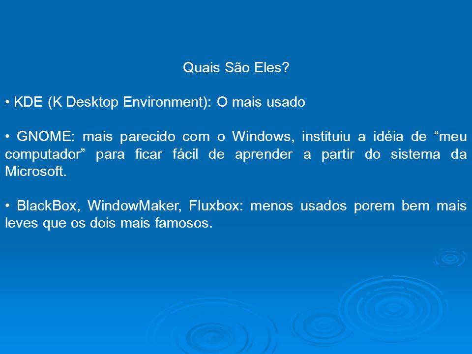 Quais São Eles? KDE (K Desktop Environment): O mais usado GNOME: mais parecido com o Windows, instituiu a idéia de meu computador para ficar fácil de