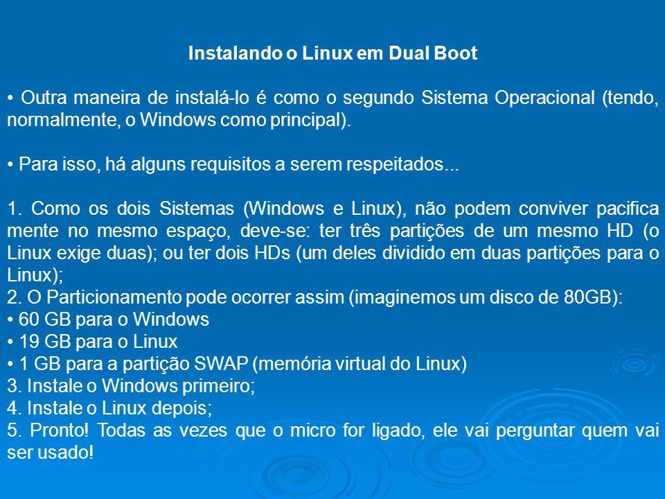 Instalando o Linux em Dual Boot Outra maneira de instalá-lo é como o segundo Sistema Operacional (tendo, normalmente, o Windows como principal). Para