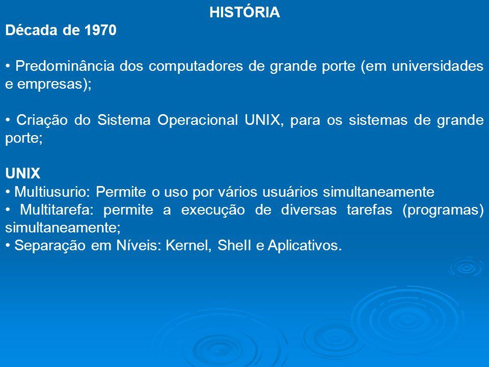 HISTÓRIA Década de 1970 Predominância dos computadores de grande porte (em universidades e empresas); Criação do Sistema Operacional UNIX, para os sis